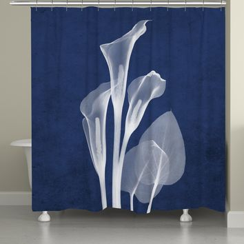 Indigo X-Ray Calla Lilies Shower Curtain