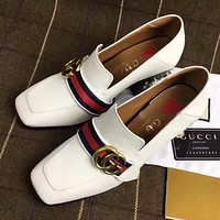 GUCCI Pearl Women Fashion Loafers Sneakers Sport Shoes  7.5CM