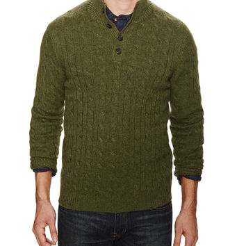 Dartmoor Men's Cashmere Cable knit Button Mock Neck Sweater - Green