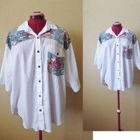 vintage 80's Casey and Max patched blouse
