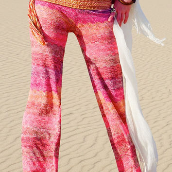 PLAYA SUNSET CROCHET stretch lace knit coral  stripe  burning man festival gypsy dance resort beach boho hippie bell bottom flare pants