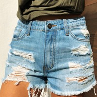 By The River Shorts: Denim