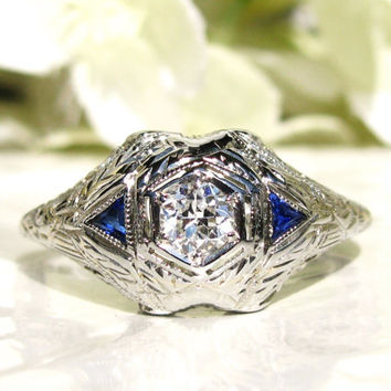 Antique Engagement Ring Old European Cut Diamond Belais Art Deco Engagement Ring 14K White Gold Filigree Sapphire Diamond Wedding Ring
