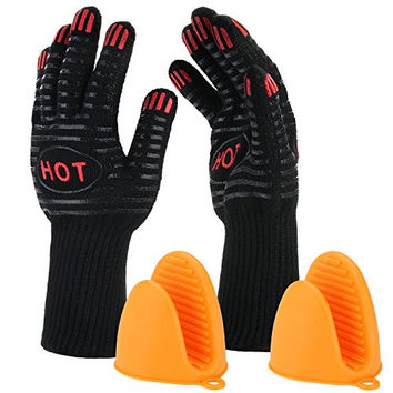 "BBQ Gloves-ISUDA 932°F Extreme Heat Resistant 14"" Long Forearm Protection Grilling Cooking Gloves - Grill & Kitchen Accessories (1 Pair) - Silicone Pot Holder As Bonus"