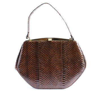 Vintage Genuine Snakeskin Purse / 1960s Chocolate Brown Reptile Bag - Structured Hexagon Chocolate Tote