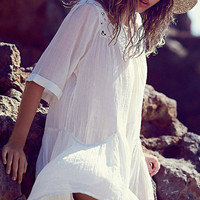 White Boho Cut Out Half Sleeve Loose Bikini Cover Up Beach Lace Dress for Women