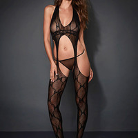 NEW Bow Lace Suspender Bodystocking