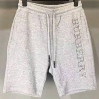 Burberry men and women tide brand embroidery letter shorts F-Great Me Store grey