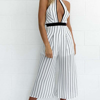 Summer halter elegant jumpsuits wide leg pants striped sleeveless cut out sexy hot long playsuits o