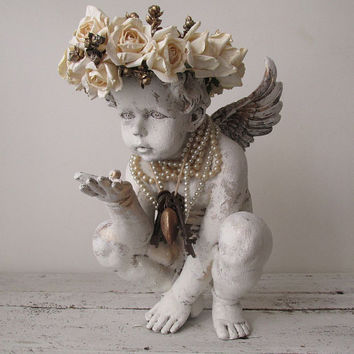 White distressed cherub statue w/ vanilla rose crown romantic cottage chic angelic figure embellished  pearls home decor anita spero design
