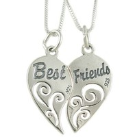 "Set of 2 Sterling Silver Best Friends Heart Pendants on 18"" Box Chain Necklaces"