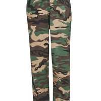 CAMO JERSEY JOGGERS WITH EMBROIDERED BADGE – New Girl Order