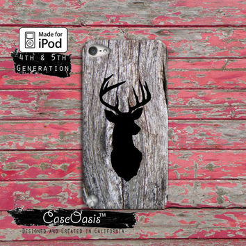 Deer Head Buck Black Camo Wood Hunting Cute Custom Case iPod Touch 4th Generation or iPod Touch 5th Generation Rubber or Plastic Case