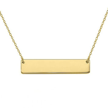 "14k Gold Personalize bar necklace 1"" inch 14k solid gold pendant Personalize nameplate select any Name"