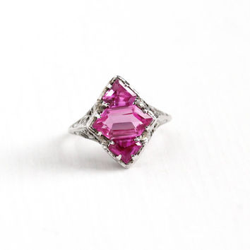 Vintage 14k White Gold Filigree Created Pink Sapphire Ring - Antique Size 5 3/4 Art Deco 1920s Fancy Cut Three Stone Statement Fine Jewelry