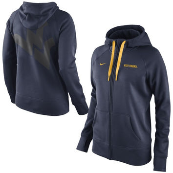 West Virginia Mountaineers Nike Women's Warp All Time Full Zip Performance Hoodie - Navy Blue