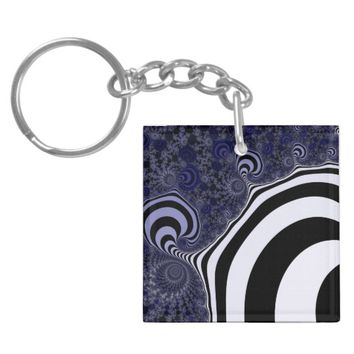 Blue and black striped fractal. keychain