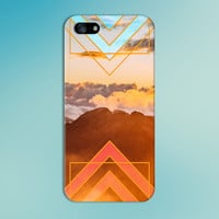 Orange Mountain Sunrise x Geometric Triangles Phone Case for iPhone 6 6+ iPhone 5 5s 5c 4 4s and Samsung Galaxy s5 s4 & s3