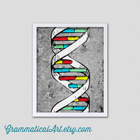 BoxingDaySale Science DNA Double Helix - Modern Gray Print for the Home