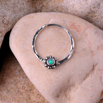 SEPTUM RING / EAR /Cartilage/nose ring Sterling Silver with 2mm synthetic opal stone. Handcrafted