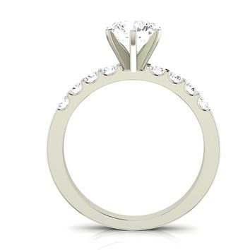 GIA CERTIFIED | 1.46 CTW Classic Prong Set Diamond Engagement Ring w/ 0.96 Ct Cushion Cut F Color VS2 Clarity Center (Platinum, Yellow, White, Rose)