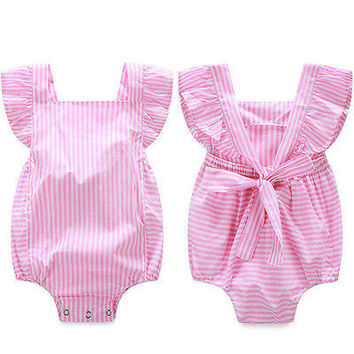 Baby rompers girl Newborn Striped cotton sleeveless romper