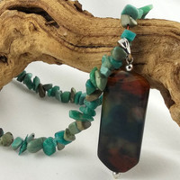Turquoise Chip Stone and Stone Focal Bead by theotherstacey