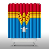 Pink Peri™ Wonder Woman Shower Curtain Handmade Home & Living Bathroom,70-Inch by 70-Inch