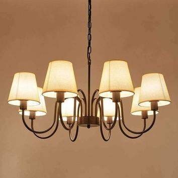 Copper-color LED Chanderliar American Vintage Style Pendant light Fabric shade ceiling light for Living Room Dinning Room