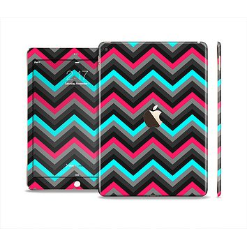 The Sharp Pink & Teal Chevron Pattern Skin Set for the Apple iPad Air 2