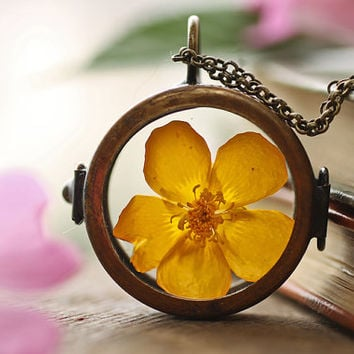 As you wish locket , yellow buttercup necklace , gift for bride , living plant, chim up buttercup , Irish jewellery , window locket