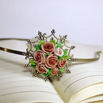 beige polymer clay rose hair stick, hair accessories ,handmade flowers