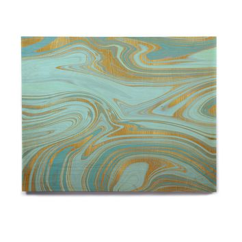 "Cafelab ""Light Water And Gold"" Teal Gold Abstract Celestial Mixed Media Painting Birchwood Wall Art"
