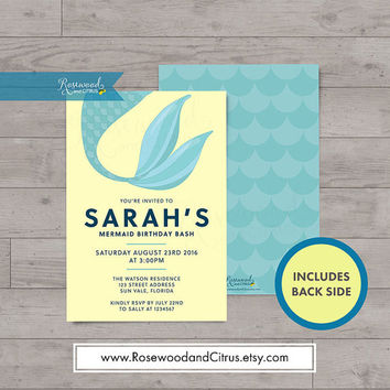 Mermaid Birthday Invitation, Birthday Invitations for Girls, Memaid Invitation, Mermaid Party Invitation, Under the Sea Invitation