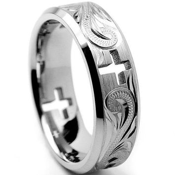 DCCK8JO 7MM Titanium Ring Wedding Band With Cross Cut Out and Engraved Floral Design