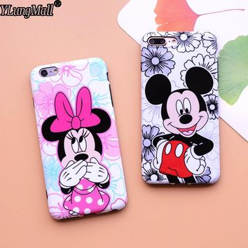 Luxury IMD Phone Case For iPhone 7/8 Plus 6 6s Plus Case Soft Mirror Fundas Coque Minnie Mickey Mouse Phone Case Back Cover