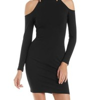 Black Cold Shoulder Bodycon Dress with Mock Neck by Charlotte Russe