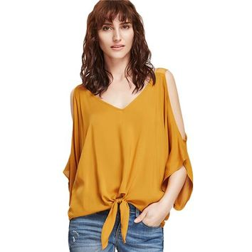 Women Blouses Mustard Cold Shoulder Elegant V Neck Summer Tops Knot Front Casual Clothing Fashion Beach Blouse