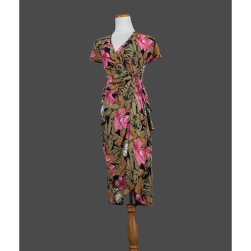 Vintage 1980s Hawaiian Dress, 80s Tropical Dress, Floral Wrap Dress, Short Sleeve, Spring Summer Party, Size 4 Small Medium