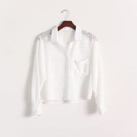 Vintage Cropped Blouse White Collared Blouse Secretary Blouse Sheer Top Unique Pattern Women's White Shirt Dress Shirt Button Up