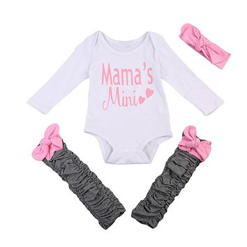 3PCS Newborn Baby Girls Bodysuit Leg Warmers Headband Baby Girl Clothes New Arrival Fashion Outfits Clothes Set