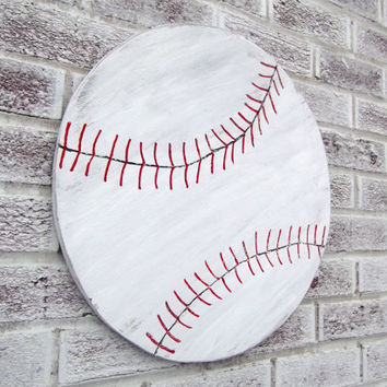 Little boy's nursery bedroom art - BASEBALL SIGN  - LARGE wood cut out shape wall art,pitcher catcher Phillies Yankees Sports Bar Man Cave