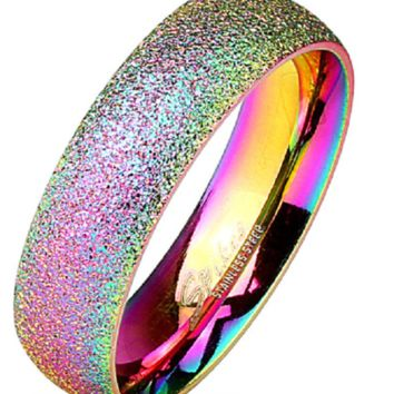 Sand Blast Finish Rainbow IP Classic Dome Ring 316L Stainless Steel