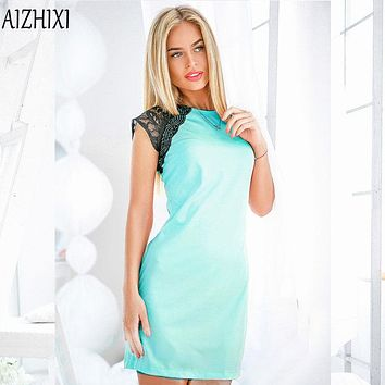 Lace Patchwork Summer Dress Women O-neck Sleeveless Party Dresses Ladies Casual Office Dress