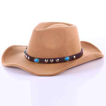 Western riding hat wool hat waterproof crease hat for men and women Couple cap
