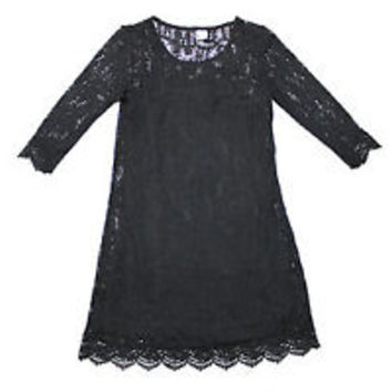 Women's DIVIDED by H & M Black Lace Top & Sheer Stretch DRESS Size 2