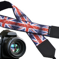 Vintage UK flag. Old British flag camera strap. Flag of Great Britain. DSLR Camera Strap. Personal gift for him, for her.