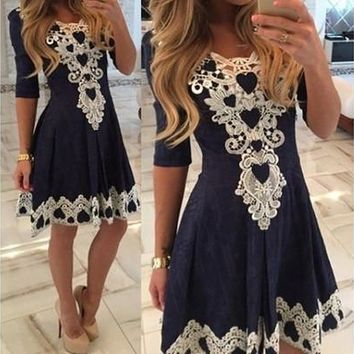 A-line Lace Solid Summer Style Dress [9305815303]
