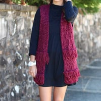 Fall Frays Sweater Vest {Burgundy}