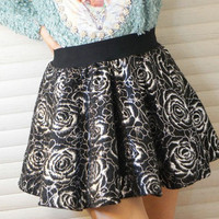 Black And Golden Floral Print Mini Skirt